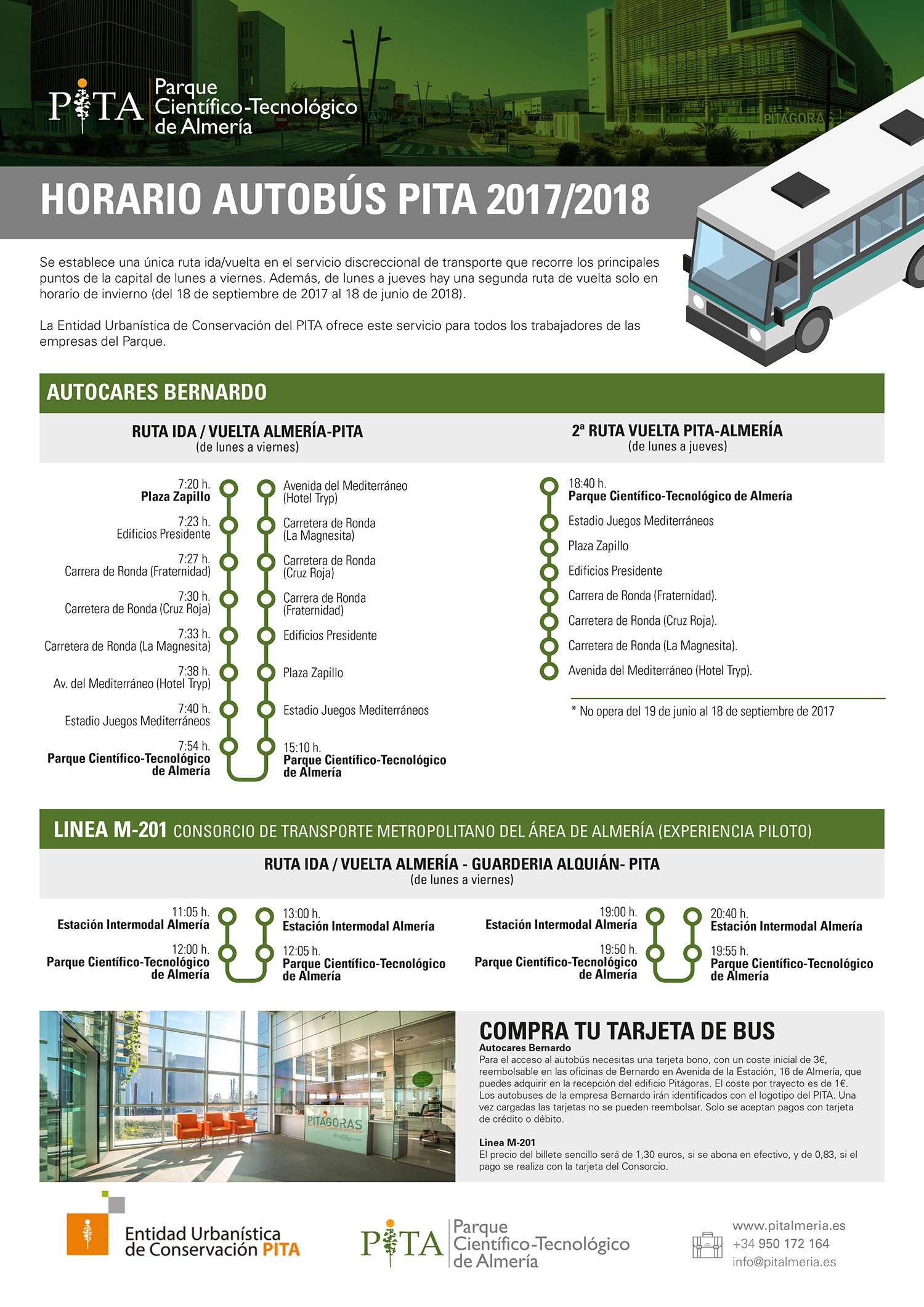 Horario autobus PITA 2017/2018